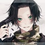 1boy black_hair bullet finger_on_trigger green_eyes gun hair_ornament hairclip handgun highres holding holding_gun holding_weapon jewelry looking_at_viewer myuhuaki original parted_lips pistol short_hair single_earring smile soldier solo twitter_username upper_body weapon