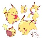 :3 :d ^_^ artsy-rc closed_eyes commentary full_body gen_1_pokemon highres minecraft no_humans open_mouth pikachu pokemon pokemon_(creature) red_apple signature simple_background smile symbol_commentary white_background