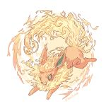 ashleyloob fire flareon flat_color green_eyes highres md5_mismatch open_mouth pokemon pokemon_(creature) simple_background white_background