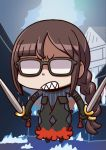 1girl april_fools bangs black_dress braid brown_hair chibi clenched_teeth consort_yu_(fate) dress dual_wielding fate/grand_order fate_(series) glasses highres holding holding_sword holding_weapon long_hair official_art opaque_glasses pinstripe_dress riyo_(lyomsnpmp) shaded_face sharp_teeth single_braid solo sword teeth very_long_hair weapon
