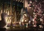 1girl bamboo bird blurry cherry_blossoms depth_of_field floral_print flower green_eyes green_hair green_nails hair_between_eyes hair_flower hair_ornament hatsune_miku highres house huge_filesize japanese_clothes kimono kneeling laru lights long_hair long_sleeves night obi petals pink_flower pond reaching_out sash sky star_(sky) starry_sky twintails veranda very_long_hair vocaloid water yukata