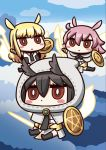 3girls april_fools black_hair blonde_hair chibi energy_weapon energy_wings fate/grand_order fate_(series) hair_between_eyes head_wings highres hildr_(fate/grand_order) holding holding_shield holding_weapon hood long_hair multiple_girls official_art ortlinde_(fate/grand_order) pink_hair red_eyes riyo_(lyomsnpmp) shield thrud_(fate/grand_order) valkyrie_(fate/grand_order) weapon