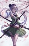 1girl absurdres bandaged_arm bandages bare_legs belt black_gloves black_neckwear blue_eyes bow bowtie breasts cherry_blossoms choker closed_mouth collared_shirt cowboy_shot dual_wielding expressionless eyebrows_visible_through_hair fingerless_gloves gloves green_skirt green_vest hairband highres hitodama holding katana key_jun konpaku_youmu konpaku_youmu_(ghost) looking_at_viewer medium_breasts sheath sheathed shirt short_hair silver_hair skirt skirt_set solo strap sword thigh_strap thighs touhou tree vest weapon white_shirt wrist_cuffs