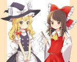 2girls absurdres apron bangs black_skirt black_vest blonde_hair blush bow braid brown_eyes brown_hair commentary_request cravat detached_sleeves eyebrows_visible_through_hair gohei hair_bow hair_ribbon hakurei_reimu hat hat_ribbon high_collar highres holding kirisame_marisa long_hair multiple_girls partial_commentary puffy_short_sleeves puffy_sleeves red_skirt red_vest ribbon shirt short_sleeves single_braid skirt skirt_set smile standing swept_bangs tan_background tatuhiro touhou tress_ribbon two-tone_background upper_body v_arms vest waist_apron white_background white_shirt witch_hat yellow_eyes yellow_neckwear