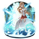 1girl asuna_(sao) bangs braid breastplate brown_eyes brown_hair cape closed_mouth crown_braid detached_sleeves faux_figurine floating_hair full_body highres holding holding_sheath holding_sword holding_weapon long_hair long_sleeves looking_at_viewer miniskirt official_art pleated_skirt red_skirt sheath sheathing skirt solo standing sword sword_art_online thigh-highs very_long_hair waist_cape weapon white_cape white_legwear white_sleeves zettai_ryouiki