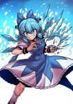 >:) 1girl bare_arms blue_dress blue_eyes blue_hair bow bowtie cirno dress feet_out_of_frame fighting_stance grin hair_bow hands_up highres ice ice_wings looking_at_viewer medium_dress medium_hair red_bow short_sleeves smile socks solo touhou tsuki_wani v-shaped_eyebrows wings wristband