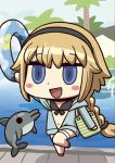 1girl animal april_fools bangs black_bikini_top black_hairband blonde_hair blush_stickers chibi dolphin fate/grand_order fate_(series) hairband highres holding innertube jeanne_d'arc_(fate)_(all) jeanne_d'arc_(swimsuit_archer) long_hair navel official_art open_mouth riyo_(lyomsnpmp) shadow smile solo_focus