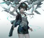 1girl bangs belt bird blood bloody_clothes blue_eyes breasts brown_hair cigarette ekita_xuan gun highres holding holding_cigarette holding_gun holding_weapon jacket looking_at_viewer open_clothes open_collar open_jacket pencil_skirt psycho-pass short_hair skirt small_breasts smoking solo standing torn_clothes torn_skirt tsunemori_akane weapon