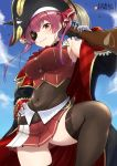 1girl ass_visible_through_thighs bare_shoulders belt black_legwear blue_sky bodysuit breasts coat corsair eyepatch gun hand_on_hip hat highres hololive houshou_marine lace lace-trimmed_legwear lo_xueming long_sleeves navel open_clothes open_coat over_shoulder pirate_hat red_eyes redhead rifle skindentation skirt sky solo thigh-highs virtual_youtuber weapon