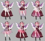 1girl alternate_costume asymmetrical_clothes bangs bird_wings boots bow costume_chart detached_sleeves dress eyebrows_visible_through_hair fingernails floral_print frilled_skirt frills gotoh510 grey_background hat highres long_fingernails looking_at_viewer mystia_lorelei nail_polish open_mouth outstretched_arm pink_eyes pink_hair red_dress ribbon see-through short_hair simple_background skirt smile solo standing touhou wings