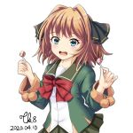 1girl arms_up black_ribbon blue_eyes blush brown_hair candy dated eyebrows_visible_through_hair food green_jacket green_skirt hachijou_(kantai_collection) hair_ribbon highres jacket kantai_collection lollipop long_sleeves looking_at_viewer neck_ribbon pleated_skirt pom_pom_(clothes) red_ribbon ribbon sailor_collar school_uniform serafuku short_hair simple_background skirt solo tk8d32 white_background