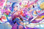 1girl bangs blue_hair emori_miku eyebrows eyebrows_visible_through_hair flower fuji_choko holding holding_flower japanese_clothes kimono long_hair looking_at_viewer smile standing violet_eyes