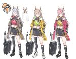 1girl absurdres arms_at_sides asymmetrical_legwear black_footwear black_legwear black_skirt blue_eyes brown_coat brown_hair coat green_eyes grey_hair hair_ornament hairpin highres long_sleeves looking_at_viewer midriff miniskirt multiple_views navel nogchasaeg_(karon2848) open_clothes open_coat original parted_lips pink_hair red_coat rolling_suitcase shoes simple_background single_sock single_thighhigh skirt socks standing thigh-highs white_background white_footwear yellow_coat