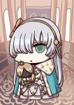 1girl anastasia_(fate/grand_order) april_fools blue_cloak brown_hairband brown_ribbon chibi cloak crown doll fate/grand_order fate_(series) hair_over_one_eye hairband highres holding holding_doll long_hair mini_crown official_art open_mouth ribbon riyo_(lyomsnpmp) royal_robe solo triangle_mouth