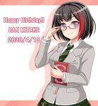 1girl adjusting_eyewear bang_dream! bangs bespectacled black_hair blazer blush bob_cut book breasts character_name collared_shirt colored_shadow commentary_request dated diagonal_stripes drop_shadow eyebrows_visible_through_hair glasses green_neckwear green_skirt grey_jacket hand_up haneoka_school_uniform happy_birthday highres holding holding_book jacket long_sleeves looking_at_viewer medium_breasts mitake_ran multicolored_hair necktie plaid plaid_skirt pleated_skirt red_background redhead school_uniform shadow shirt short_hair sidelocks simple_background skirt smile solo standing streaked_hair striped striped_neckwear two-tone_background upper_body violet_eyes white_background white_shirt yoshino_yamato