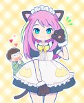 1boy 1girl :3 :d alternate_costume animal_ears apron ayu_(mog) black_dress blue_eyes blush brown_hair cat_ears cat_tail closed_eyes cowboy_shot dress enmaided eyebrows_visible_through_hair gloves hand_up hashimoto_nyaa heart heart_in_mouth interlocked_fingers kemonomimi_mode long_hair looking_at_viewer maid maid_apron maid_headdress matsuno_juushimatsu multicolored_hair notice_lines open_mouth osomatsu-san paw_gloves paws pink_hair puffy_short_sleeves puffy_sleeves short_sleeves smile solo_focus standing streaked_hair tail yellow_background