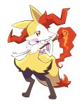 :d artsy-rc braixen commentary english_commentary fang fire full_body gen_6_pokemon highres looking_at_viewer no_humans open_mouth pokemon pokemon_(creature) signature simple_background smile solo standing white_background