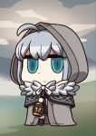 1girl ahoge april_fools aqua_eyes bangs chibi cloak fate/grand_order fate_(series) gray_(lord_el-melloi_ii) highres holding_cage hood hood_up hooded_cloak long_sleeves looking_at_viewer lord_el-melloi_ii_case_files official_art riyo_(lyomsnpmp) solo