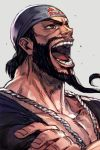 1boy alternate_costume bandana beard black_hair crossed_arms facial_hair fingernails grey_background grey_eyes hankuri laughing male_focus muscle mustache open_mouth rashid_(street_fighter) red_bull simple_background solo street_fighter street_fighter_v upper_body