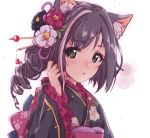 1girl alternate_hairstyle animal_ear_fluff animal_ears bangs black_hair black_kimono braid cat_ears commentary drill_hair eyebrows_visible_through_hair floral_print flower frilled_kimono frills green_eyes hair_flower hair_ornament hairpin hand_in_hair highres japanese_clothes kimono kuroi_mimei kyaru_(princess_connect) long_sleeves looking_at_viewer medium_hair parted_lips princess_connect! princess_connect!_re:dive print_kimono simple_background solo upper_body white_background
