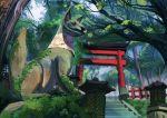 day forest fox moss nature no_humans original outdoors scenery shrine stairs statue torii tseng-en