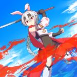 1girl :o anchor_symbol animal_ears arm_up azur_lane bangs black_gloves black_headband black_skirt blue_sky braid braided_ponytail breasts cherry_blossom_print clenched_hand clouds commentary_request cowboy_shot day detached_sleeves dutch_angle fingerless_gloves floral_print gloves hair_between_eyes headband highres holding holding_sword holding_weapon katana long_hair looking_at_viewer ocean outdoors pleated_skirt rabbit_ears red_eyes red_scarf scarf sidelocks silver_hair skirt sky small_breasts solo standing standing_on_one_leg sword tassel thigh-highs tone_(azur_lane) unsheathed utsusemi_(sola) very_long_hair waves weapon white_legwear zettai_ryouiki