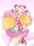 1girl ;d cheerleader clover_earrings crop_top cure_yell double_bun floating_hair flower hair_flower hair_ornament hair_ribbon heart heart_hair_ornament highres hugtto!_precure killua_gon long_hair looking_at_viewer midriff miniskirt navel one_eye_closed open_mouth pink_hair pink_skirt pleated_skirt pom_poms precure red_eyes red_ribbon ribbon see-through shiny shiny_hair skirt sleeveless smile solo standing standing_on_one_leg stomach thigh-highs very_long_hair white_flower white_legwear