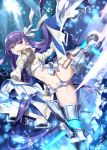 1girl ass_visible_through_thighs bangs blue_eyes blush bubble commentary_request fate/extra fate/extra_ccc fate/grand_order fate_(series) gabiran hair_ribbon kicking long_hair looking_at_viewer meltryllis navel purple_hair ribbon sleeves_past_fingers sleeves_past_wrists smile solo very_long_hair