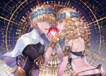 1boy 1girl apple armlet ass back black_shirt blonde_hair blue_background blue_eyes bracelet breasts bridal_gauntlets brother_and_sister castor_(fate/grand_order) diadem fate/grand_order fate_(series) food fruit gradient gradient_background jewelry looking_at_viewer medium_hair open_mouth pollux_(fate/grand_order) sagta_panggang shirt short_hair siblings small_breasts star_(sky) twins white_robe