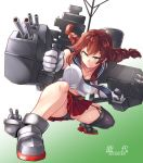 1girl asymmetrical_legwear belt black_panties braid breasts brown_hair cannon chaigidhiell character_name commentary_request full_body garter_straps gloves gradient gradient_background green_eyes highres kantai_collection midriff miniskirt necktie noshiro_(kantai_collection) panties pantyshot pantyshot_(squatting) pleated_skirt red_skirt school_uniform serafuku single_thighhigh skirt solo squatting thigh-highs turret twin_braids underwear white_gloves