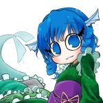 1girl avatar_icon blue_eyes blue_hair blush chamaji drill_hair eyebrows_visible_through_hair fish_tail frills head_fins japanese_clothes kimono long_sleeves looking_at_viewer lowres mermaid monster_girl obi sash short_hair signature simple_background smile solo tail touhou wakasagihime white_background
