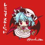 1girl back_bow bat_wings blue_hair bow character_name chibi commentary_request dress frills full_body hat hat_ribbon highres holding holding_spear holding_weapon long_sleeves looking_at_viewer mob_cap pink_dress pink_headwear polearm red_background red_bow red_eyes red_footwear red_neckwear red_ribbon remilia_scarlet ribbon short_hair smile socha solo spear spear_the_gungnir touhou twitter_username weapon wings