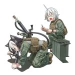 0_0 2girls :3 ahoge ammo_box animal_ears belt black_hair body_armor boots brown_footwear cat_ears cat_tail closed_eyes commentary english_commentary eyebrows_visible_through_hair frown green_jacket green_pants holding holding_pen jacket jpc kneeling leaning_forward long_sleeves military military_uniform mortar multicolored_hair multiple_girls one_knee open_mouth original pants pen prehensile_tail scared shadow short_hair silver_hair tail two-tone_hair uniform utility_belt