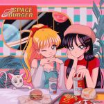 +_+ 2girls :p aino_minako bishoujo_senshi_sailor_moon black_hair blonde_hair cola diana_(sailor_moon) dress earrings fast_food food hair_ornament hairpin hamburger hanavbara hand_on_own_chin hand_on_own_face hands_clasped hat hino_rei jewelry looking_at_viewer mcdonald's multiple_girls one_eye_closed own_hands_together plant sitting smile space table tongue tongue_out