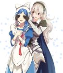 2girls apron armor black_gloves black_hairband blue_cape blue_hair braid cape corrin_(fire_emblem) corrin_(fire_emblem)_(female) covering_another's_eyes fire_emblem fire_emblem_fates gloves gradient_hair hairband lilith_(fire_emblem) long_hair long_sleeves misu_kasumi multicolored_hair multiple_girls open_mouth pointy_ears red_eyes redhead simple_background single_braid white_hair