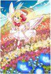 ametama_(runarunaruta5656) blonde_hair fairy fairy_wings field flower flower_field flying highres lily_white long_hair sky touhou wings