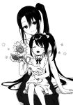 2girls alternate_costume closed_eyes dress flower greyscale hair_ribbon highres kantai_collection long_hair monochrome mother_and_daughter multiple_girls nachi_(kantai_collection) ototsu_kei ponytail ribbon side_ponytail sitting sitting_on_person smile sunflower