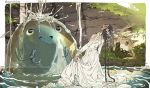 1girl black_hair blob braid closed_eyes dress fish holding_fish long_hair long_sleeves monster open_mouth original parallela66 partially_submerged profile see-through smile twin_braids twintails very_long_hair wet wet_clothes wet_dress white_dress
