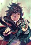 1boy absurdres bangs black_hair blood blood_on_face coat cuts debris glasses gryffindor harry_potter highres hogwarts_school_uniform holding holding_wand huge_filesize injury james_potter long_sleeves looking_at_viewer magic male_focus maru_(hardrock5150) orange_eyes outstretched_arms round_eyewear school_uniform smile smirk solo swept_bangs upper_body wand