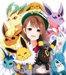 1girl absurdres brown_eyes brown_hair cardigan commentary_request eevee espeon flareon gen_1_pokemon gen_2_pokemon gen_4_pokemon gen_6_pokemon glaceon green_headwear grey_cardigan highres holding holding_pokemon jolteon leafeon long_sleeves looking_at_viewer open_mouth pokemon pokemon_(creature) pokemon_(game) pokemon_swsh short_hair simple_background smile solo sylveon tam_o'_shanter tsunamayo_(flying_cat) umbreon vaporeon white_background yuuri_(pokemon)