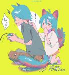 /\/\/\ 1boy 1girl animal_ears antenna_hair aqua_hair bangs barefoot blush_stickers brother_and_sister brown_pants cat_boy cat_ears cat_girl cat_tail circle clenched_teeth closed_mouth constricted_pupils controller covering_mouth dot_nose flying_sweatdrops from_side full_body furrowed_eyebrows game_controller gamepad green_background grey_shirt hair_between_eyes half-closed_eyes hand_up hands_up holding_controller holding_game_controller indian_style kneeling long_hair looking_at_another looking_away motion_lines niwabuki no_shoes noshime_ruka onomatopoeia orange_eyes original pants profile satonaka_kei shiny shiny_hair shirt short_sleeves siblings signature simple_background sitting smirk smug speech_bubble startled sweat tail teeth translation_request trembling white_shirt