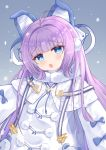 1girl animal_ears azur_lane blue_eyes blush coat eyebrows_visible_through_hair fake_animal_ears fur-trimmed_coat fur_trim gradient gradient_background hair_ornament hair_ribbon highres hiyada_yuu long_hair long_sleeves looking_at_viewer open_mouth pom_pom_(clothes) purple_hair ribbon snowing solo tashkent_(azur_lane) very_long_hair very_long_sleeves white_coat winter_clothes