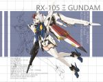 1girl absurdres full_body green_eyes gun gundam highres holding holding_weapon lengbolaodao looking_at_viewer mecha mecha_musume parted_lips personification rifle science_fiction shield short_hair solo thigh-highs weapon white_hair xi_gundam