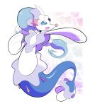 :d artsy-rc commentary english_commentary fang full_body gen_7_pokemon highres no_humans open_mouth pokemon pokemon_(creature) primarina signature skin_fang smile solo