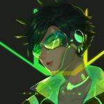 1girl artist_name bangs black_background black_hair brown_hair character_name cyberpunk_2077 cyborg earrings glowing goggles green_theme half-closed_eyes headphones highres jewelry lips lipstick looking_away makeup overwatch parted_lips portrait robot_joints short_hair smile solo spiky_hair squidsmith swept_bangs tracer_(overwatch)