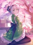 1girl :t alternate_costume arm_up bangs baozi black_legwear bob_cut cherry_blossoms commentary cup dango dappled_sunlight eating eyebrows_visible_through_hair fence food from_behind furisode green_eyes green_kimono hair_ribbon hanami highres holding_skewer japanese_clothes kimono konpaku_youmu looking_at_viewer looking_back mechrailgun no_shoes obi outdoors pantyhose petals ribbon rope sanshoku_dango sash shide shimenawa silver_hair solo sunlight table teapot touhou tree wagashi white_background wooden_fence