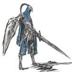 1boy armor artorias_the_abysswalker dark_souls full_armor highres holding holding_shield holding_sword holding_weapon male_focus nameo_(judgemasterkou) no_humans shield simple_background solo souls_(from_software) sword weapon white_background