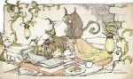 1girl blanket book brown_hair cat cookie cup food lamp long_hair no_nose open_book open_mouth original parallela66 plate rug sleeping solo tray twitter_username watering_can