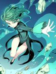 1girl asutora dress flying green_dress green_eyes green_hair legs looking_at_viewer one-punch_man open_mouth outstretched_arm rock short_hair solo tatsumaki thighs