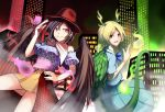 2girls ashiroku_(miracle_hinacle) bare_legs black_hair black_wings blood blue_shirt building city city_lights cityscape commentary_request cowboy_hat dragon_tail feathered_wings gradient gradient_background hair_between_eyes hand_on_hip hat highres horns kicchou_yachie kurokoma_saki looking_at_another multiple_girls neckerchief otter_spirit_(touhou) puffy_short_sleeves puffy_sleeves redhead shirt short_hair short_sleeves skirt skyscraper tail touhou white_neckwear wings wolf_spirit_(touhou)
